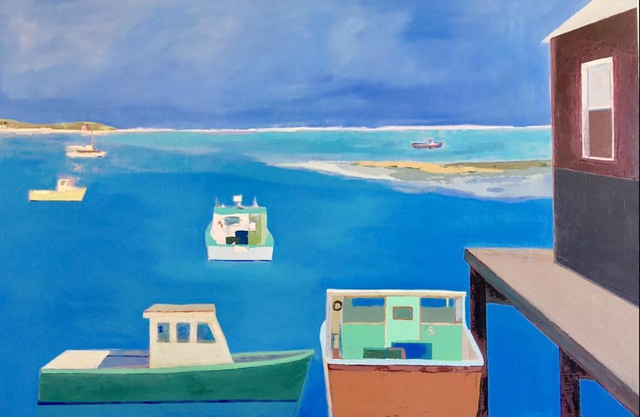 """, '""""Lobster Boats"""" Seascape in Blues Greens Browns,' 2010-2018, Eisenhauer Gallery"""