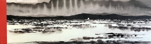 David Middlebrook, 'Flooded Desert and Icons', 2019, Painting, Ink and acrylic on canvas, Art Atrium