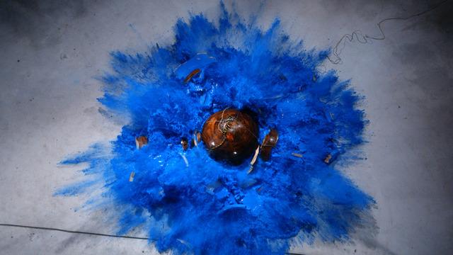 , 'Ohne Titel, Kugel mit blauer Farbe,' 2012, Galerie Stephan Witschi