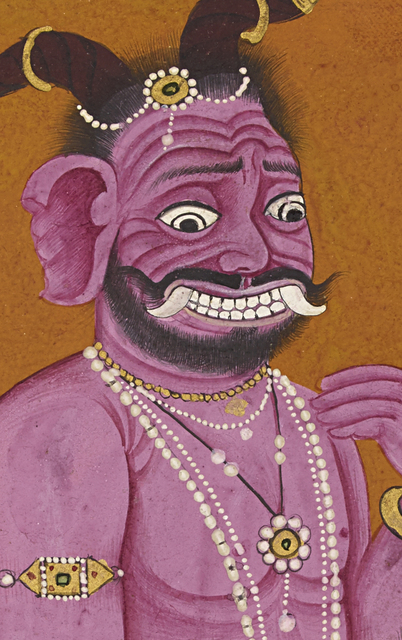 , 'The demon Hiranyaksha consults with his father Kasyapa (detail),' ca. 1740, Museum Rietberg