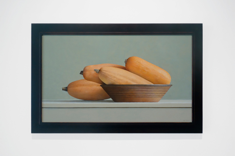 "Janet Rickus, BANANA SQUASH AND BROWN BOWL, Oil on Canvas, 20"" x 34"""