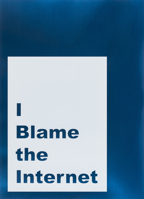 Jeremy Deller, 'I blame the internet', 2014, Print, Screenprint on mirrored cardstock, RAW Editions Gallery Auction