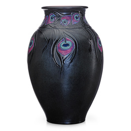Exceptional, rare, and large French Red vase with peacock feathers (uncrazed), Cincinnati, OH