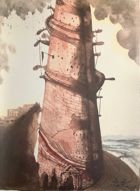 Salvador Dalí, 'The Tower of Babel, 'Turris Babel', Biblia Sacra', 1967, Mixed Media, Original Lithograph, Inviere Gallery