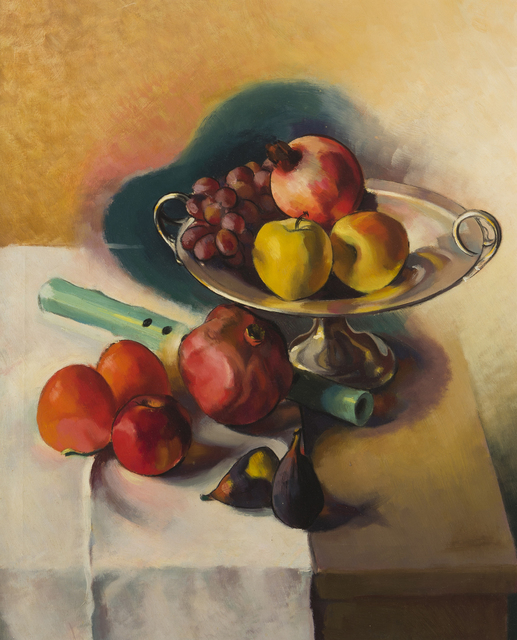 Stanton MacDonald-Wright, 'Still life with flute, fruit and bowl', 1942, Painting, Oil on canvas, John Moran Auctioneers