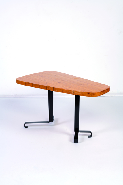 Charlotte Perriand, 'Les Arcs forme libre table in pine and metal', vers 1970, Leclere