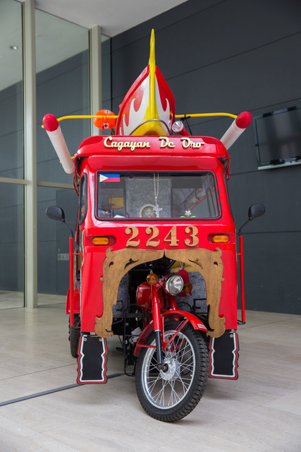 Siete Pesos, '2243: Moving Forward', 2013, Sculpture, Mixed media with refurbished motorela, banca with life jackets, pop-up cards, video, Singapore Art Museum (SAM)