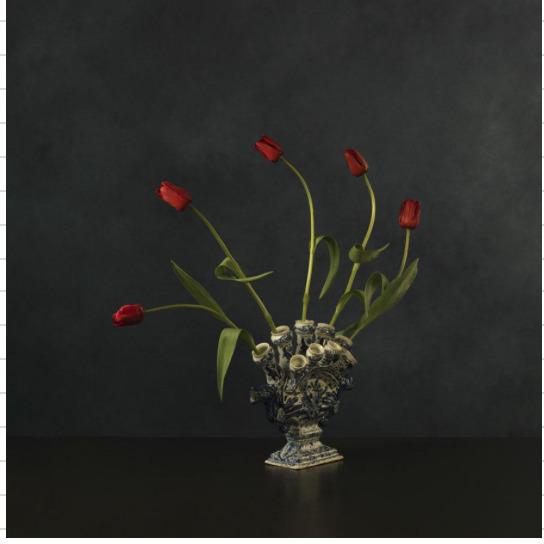 , 'Red tulips in Delftware vase,' 2015, SmithDavidson Gallery