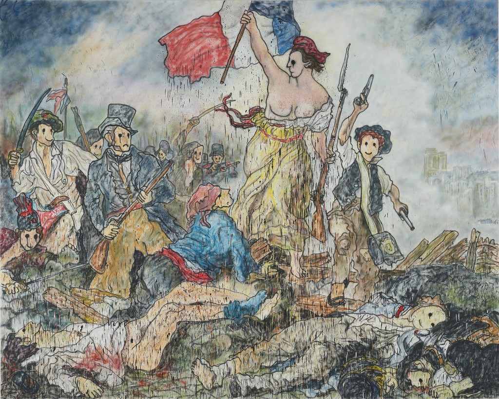 Liberty Leading the People II, 2018 Acrylic paint, aerosol on canvas 260 x 325 cm | 102 3/8 x 127 15/16 in
