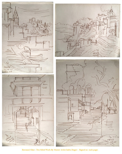 , 'Beneras : Steps to the Temple, Ink drawing, inspired by Bengal Artist Nandalal Bose,' 1963, Gallery Kolkata