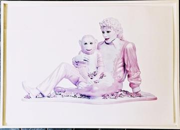 Portrait of Michael Jackson and Bubbles (Pink)