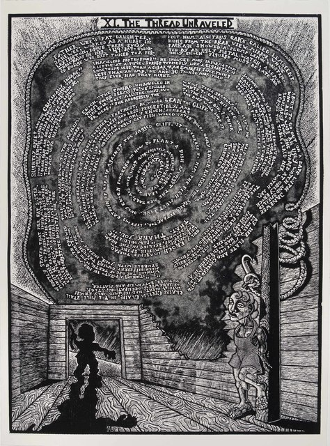 , 'XI. The Thread Unraveled              The Book of Only Enoch, 2011-2014 A portfolio of 20 woodcuts drawn and cut by Jay Bolotin over a 4 year period,' 2011-2014, Carl Solway Gallery