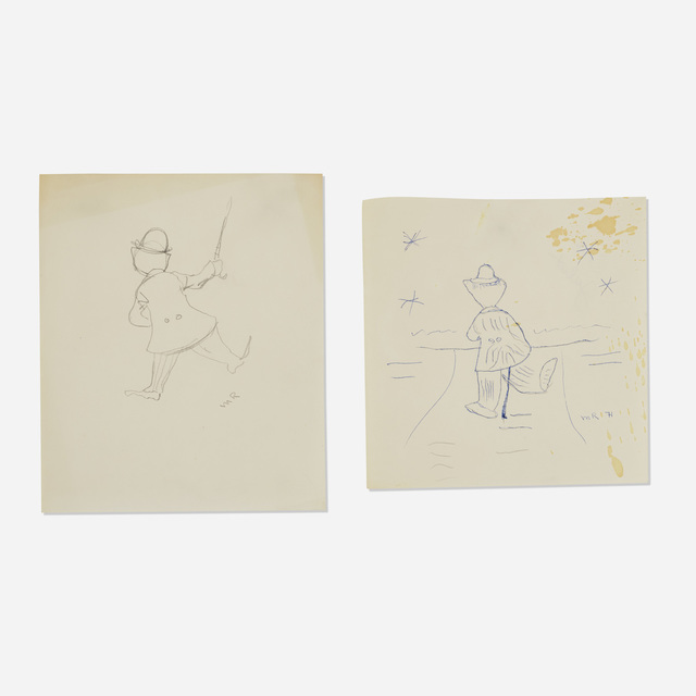 Man Ray, 'Untitled (Charlie Chaplin) (two works)', 1971, Drawing, Collage or other Work on Paper, Ink and graphite on paper, Rago/Wright