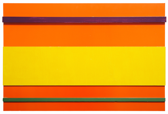 John Nixon, 'Orange monochrome construction with 3 colours', 2000, Charles Nodrum Gallery