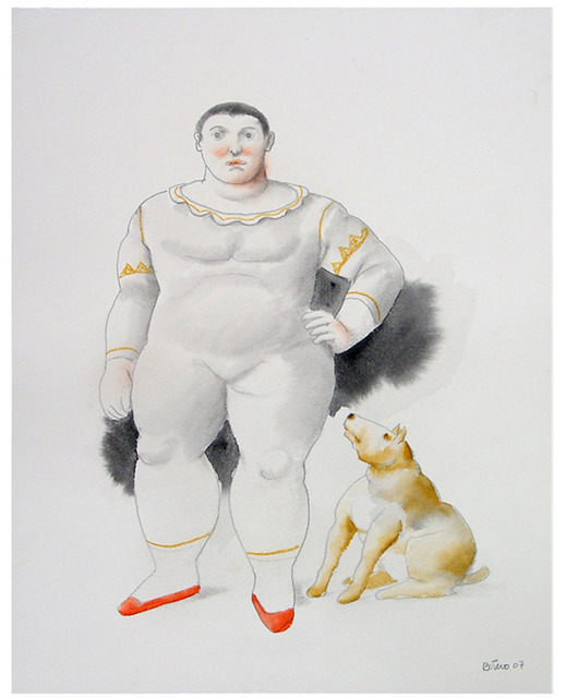 Fernando Botero, 'Trapezista Com Cachorro', Drawing, Collage or other Work on Paper, Graphite & colored pencil on paper, Ode to Art