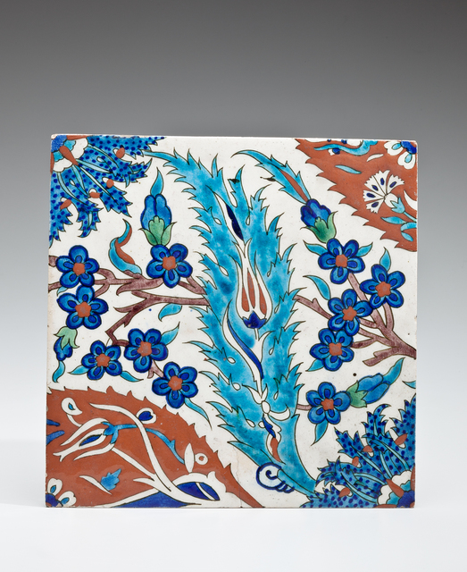 , 'Wall Tile with Turquoise Saz Leaf, Blue Hyacinth and Sections of Red and Blue Palmettes,' late 16th century or early 17th century, Phoenix Art Museum