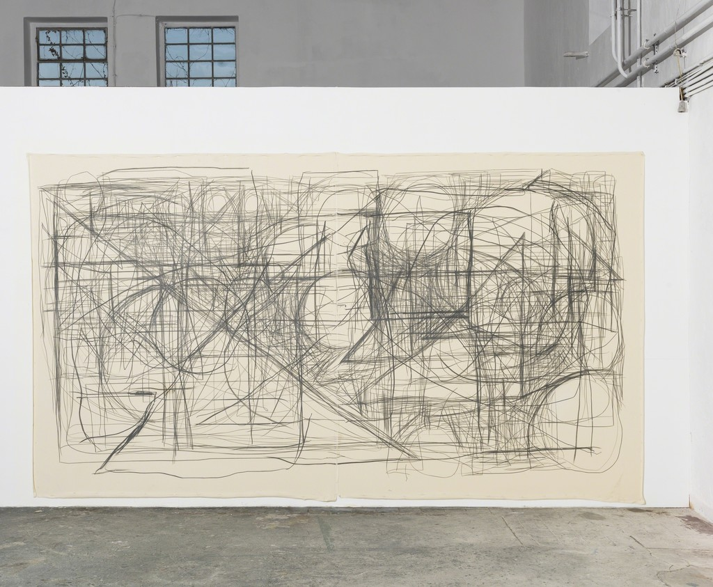 Peppi Bottrop - Cute & Kwiche, 2015, Graphite on Canvas, 250 x 420 cm (98,4 x 165,4 in)