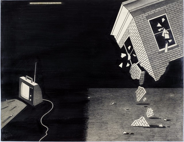 , 'Falling House and TV,' 1977, P.P.O.W
