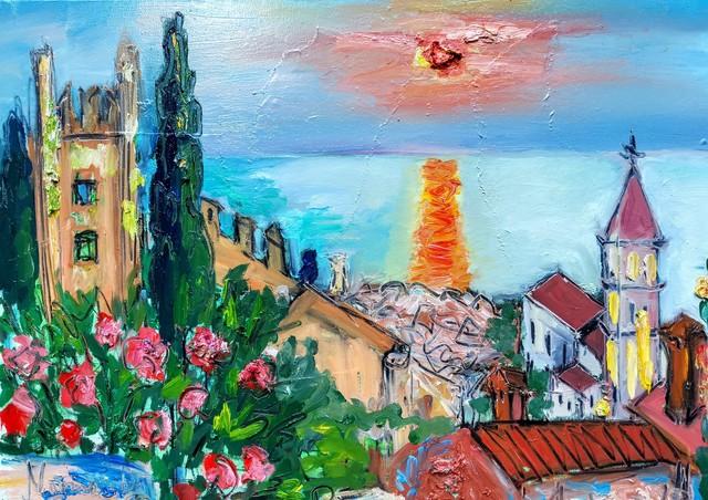 , 'Water series summer 2019 - plein air in situ paintings, Piran sunset, church, walls...,' 2019, Noravision Gallery