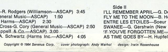 Andy Warhol, 'Rare original 1960s Andy Warhol Album Cover Art', 1964, Print, Offset printed, Lot 180