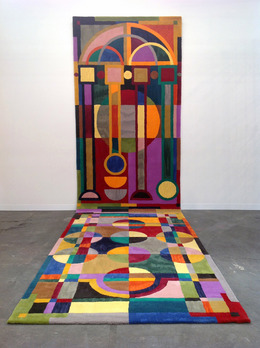 """, '""""The sky is not bounded by a fixed edge!"""": an illuminated rug arranged to accommodate a medieval mind.,' 2014, Kerlin Gallery"""