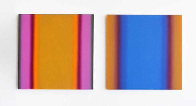 , 'Matter of Light 1-S6060 (Red Green/ Magenta Ochre), Matter of Light 7-S6060 (Blue Orange/ Blue Ochre), Diptych,' 2016, ACE Gallery