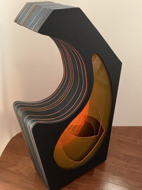 Curtis Taylor, 'Cradled', 2019, Sculpture, Grip tape, fluorescent acrylic, aluminum standoffs on wood panel, Dab Art