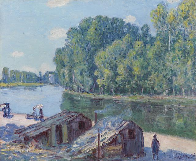 , 'Cabanes au bord du canal du Loing, effet de soleil,' 1896, Richard Green Gallery
