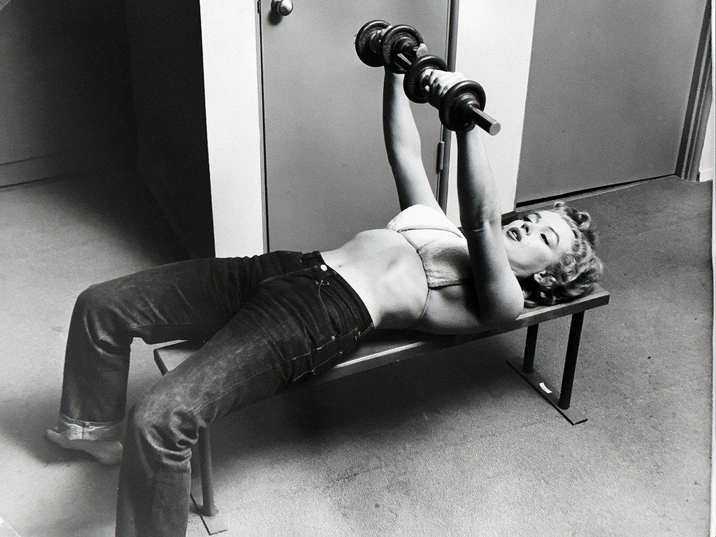 Marilyn Monroe with Barbells, 1952 by Philippe Halsman