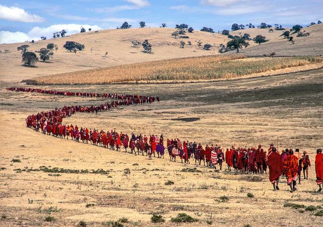 , 'Salei Maasai Warriors Approach the Ceremonial Manyatta, Tanzania,' 2006, THK Gallery