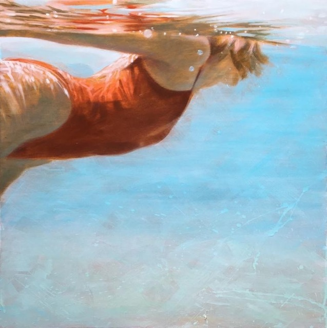 """Carol Bennett, '""""See Water"""" Oil Painting of a Woman in a Red Swimsuit in Blue Pool ', 2017, Eisenhauer Gallery"""