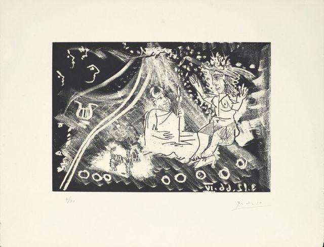 Pablo Picasso, 'Au théâtre : le cocu avec sa femme et un petit chien ', 1968, Le Coin des Arts