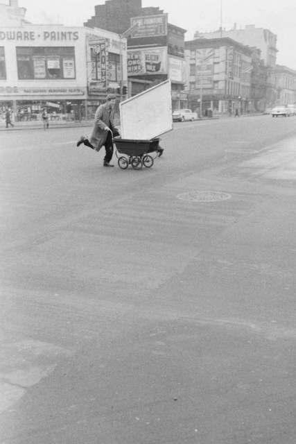 , 'Red Grooms transporting artwork to Reuben Gallery, New York,' 1960, Grey Art Gallery