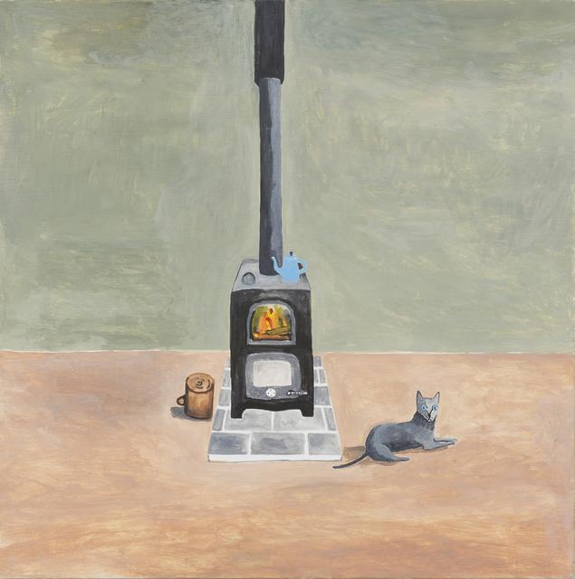 , 'Grey Cat beside Stove,' 2016, mother's tankstation