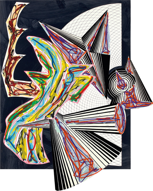 Frank Stella, 'Then Came Death and Took the Butcher, from Illustrations after El Lissitzsky's Had Gadya (A. & K. 179)', 1984, Print, Lithograph, linocut and screenprint in colors with hand-coloring and collage, on T.H. Saunders and Somerset papers, the full sheet., Phillips
