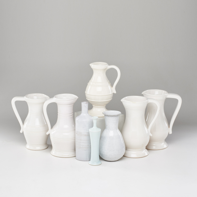 """Vallauris & Quimper, 'Group of eight: set of five Chambost """"Ghost"""" pitchers, Vallauris bud vase, Les Argonaites ribbed vase, and Quimper vase', 1950s, Rago"""