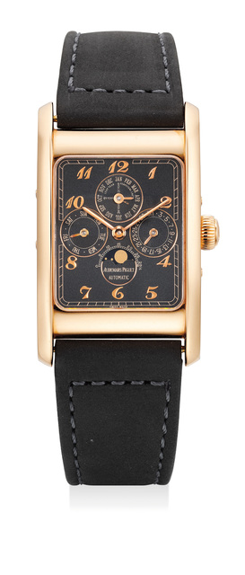 Audemars Piguet, 'A fine and rare pink gold limited edition rectangular perpetual calendar wristwatch with applied Breguet numerals, matte black dial, certificate and leather portfolio, numbered 21 of a limited edition of 50 pieces', Circa 1990, Phillips