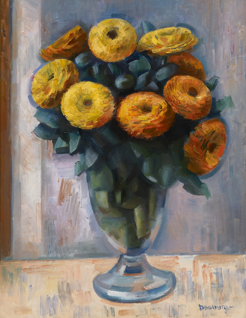 Andrew Dasburg, 'Still Life with Zinnias', ca. 1918, Painting, Oil on canvasboard, Gerald Peters Gallery