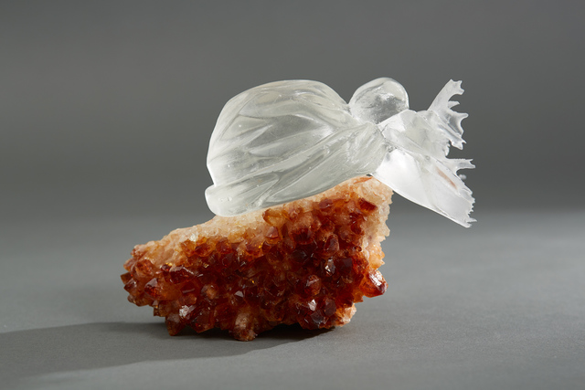 , ' Debra Baxter, Face Down About to Get Up and Fight, 2018, cast glass, citrine,' 2018 , form & concept
