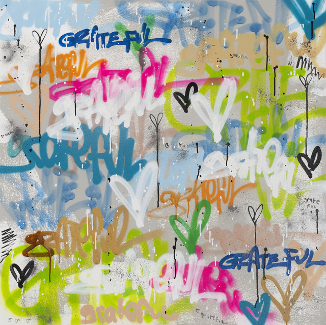 Amber Goldhammer, 'Grateful Grateful Grateful', 2021, Painting, Acrylic, Spray, Latex, Ink on Canvas, Ethos Contemporary Art