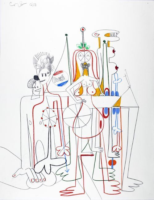 Louisiana on Paper. George Condo: The Way I Think. Drawings 1974-2015 09.11 2017 - 04.02 2018    George Condo Mental States 4, 2000 Graphite, charcoal and pastel on paper 59,1 × 45,7 cm  Private Collection, New York © George Condo Photo: George Condo Studio