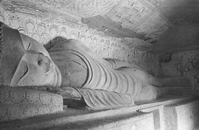 , 'Parinirvana, Mogao Cave 158, dated Middle Tang dynasty (781–848). Dunhuang, Gansu province.  The Lo Archive,' Photograph taken in 1943–44, Princeton University Art Museum