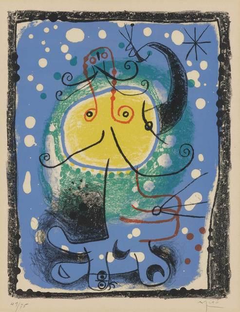 Joan Miró, 'PERSONNAGE SUR FOND BLEU (MOURLOT 244)', 1957, Doyle