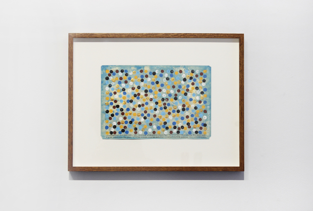 , 'Counting 343 coloured dots for: counting 49 barefoot paces from and to the tent each morning for seven days. A 14 day walk from sea level up to the highest point and back down to the water edge. Sardinia Italy November 2014,' 2014, Josée Bienvenu