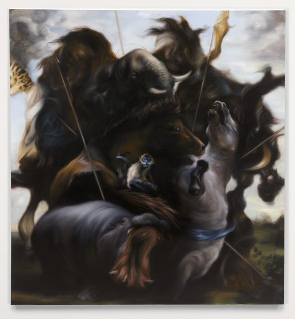 , 'Hunt 4,' Oil on canvas, Parafin