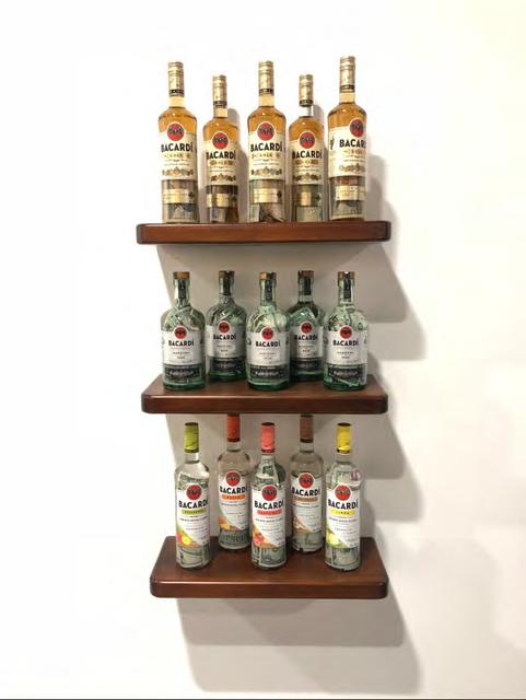 Carolina Caycedo, 'Agua Sucia (Minimun and medium wages)', 2017, Installation, 15 Bottles of rum Bacardi, bills., Instituto de Visión