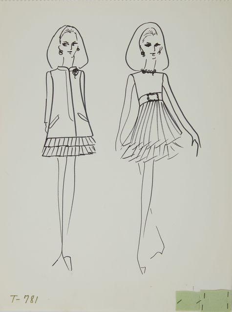 Karl Lagerfeld, 'Karl Lagerfeld Original Fashion Sketch Ink Drawing with Fabric T-781', ca. 1963-1969, Drawing, Collage or other Work on Paper, Mixed Media, ink pen on paper with fabric, Modern Artifact