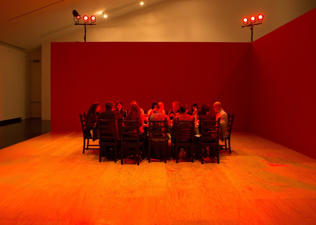 "Installation view of a themed dinner in Janine Antoni and Stephen Petronio's ""On the Table,"" in the exhibition ""Janine Antoni & Stephen Petronio's: Entangle,"" Tang Teaching Museum, 2017"