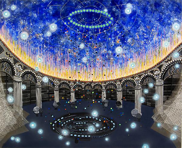 ", '""Cosmic Wanderlust"" painting from Encounter 16-B-8,' 2016, Linda Warren Projects"