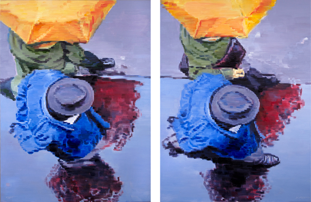 , 'Couple Under Hat and Umbrella in Paris Diptych,' 2014, ViVO Contemporary